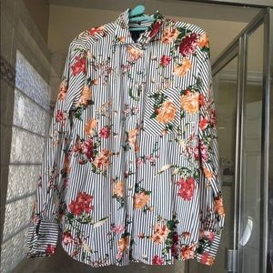 Polly & Esther Women's Striped Floral Blouse